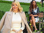 Holly Willoughby joins her co-star Rochelle Humes to film This Morning outside