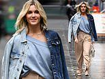 Ashley Roberts nails autumn chic in a two-tone denim jacket and kooky ankle-tie pants