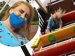 Josie Gibson can't stop screaming while conducting an interview aboard a swinging pirate ship ride
