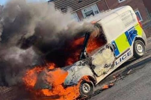 Leeds 'riot': Police van set on fire as 'utter chaos' breaks out