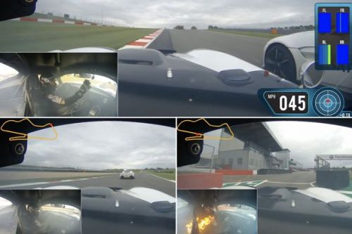 Stunning footage shows race car driver motor back to pits after cockpit fire