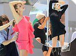 Abbey Clancy sizzles in a pink mini dress before slipping into a LBD on a fashion shoot in Cape Town
