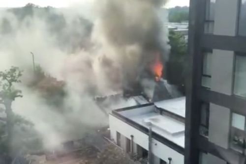 Smoke billows over Birmingham as massive fire breaks out at Cadbury Club