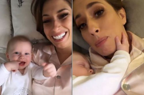 Stacey Solomon says baby Rex 'loves to stroke her chin fuzz' as he sleeps through the night