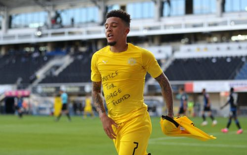 Jadon Sancho shown yellow card after celebrating Borussia Dortmund goal with 'Justice for George Floyd' T-shirt