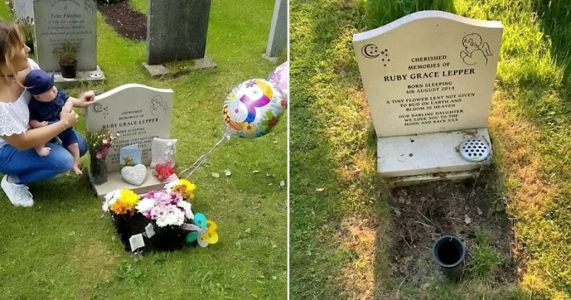 Mum's agony after church removes 'un-Christian' tributes from daughter's grave