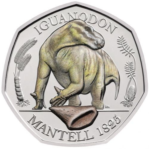 Where can you get the new dinosaur 50p coins and how does the AR feature work?