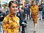Keri Russell brightens up a gloomy New York City with an eye-catching gold dress for GMA appearance