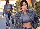 Megan Fox smolders as she showcases ripped abs in grey cropped top and jeans on solo outing in LA