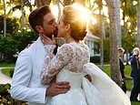Arrow star Katie Cassidy kisses Matthew Rodgers as they marry in stunning Florida sunset ceremony