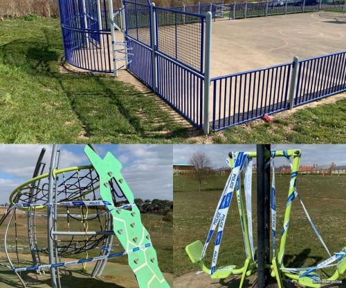 Police tape up children's play area in Poundbury