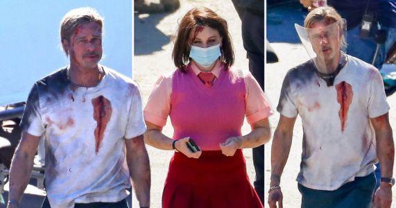 Brad Pitt is Fight Club ready looking bloodied and bruised on set of action blockbuster Bullet Train with Joey King