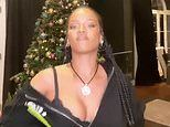 Rihanna shows off her chest in skimpy camisole top while posing in front of her Christmas tree