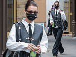 Bella Hadid nails androgynous chic as she grabs a juice during Paris Fashion Week