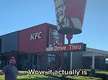Aussies lads kick a footy into the KFC bucket to see if it is empty, busting an age-old myth