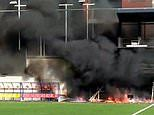 Fire erupts at the Andorra stadium England are due to play at in a World Cup qualifier on Saturday
