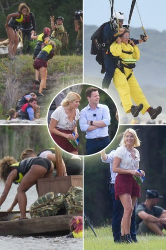 I'm A Celebrity: Holly Willoughby and Declan Donnelly can't contain their laughter as they watch contestants arrive in camp