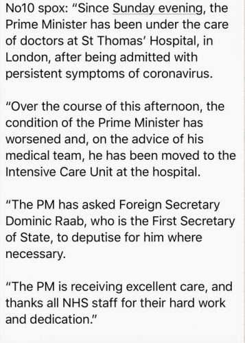 Johnson is taken into intensive care. Number Ten statement