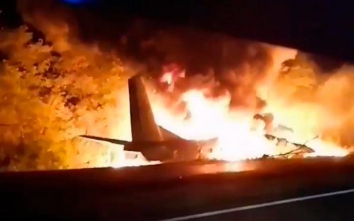 Cadets among 22 people killed in 'shock' Ukraine military plane crash