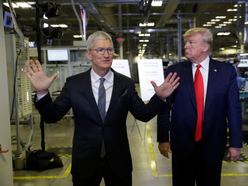 17 photos from inside Trump's tour of an Apple factory with Tim Cook