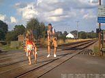 Shocking moment father stops to take photos of his young daughter on a level crossing