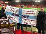 West Ham fans stage protest against owners in defeat at Liverpool