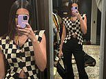 Kendall Jenner cuts a chic figure in ab-baring checkerboard top in pre-Saturday night mirror selfie