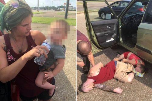 Baby girl rescued from roasting hot car in 32C heat as her parents lay passed out after 'taking heroin'
