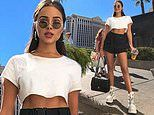 Olivia Culpo shows off her toned abs and legs as she leaves Las Vegas after attending JBL Music Fest