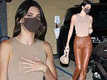 Kendall Jenner grabs dinner at Nobu in Malibu flashing midriff in crop top and leather pants