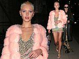 Iris Law donspink fur coat and mini dress with feathered detail to celebrate 21st birthday