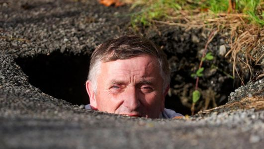 Pothole deep enough to fit a person standing up raises safety concerns in south Fermanagh