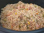 Home cook uses a slow cooker to prepare fried rice