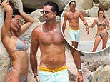 David Charvet, 48, splashes in the ocean with girlfriend and daughter