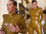 Kim Kardashian grimaces and curses as she squeezes herself into latex in hilarious KUWTK preview