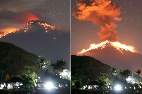 Bali volcano eruption: Apocalyptic ash cloud carries rocks TWO MILES into sky