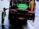 Bin and gone: Bungling refuse workers caught on camera CRUSHING a company's bin inside their lorry