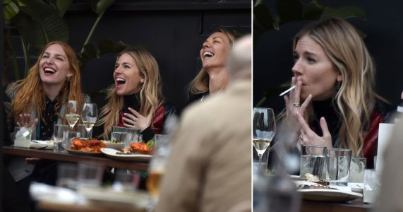 Sienna Miller makes the most of lockdown easing for outdoor lunch date with celeb pals