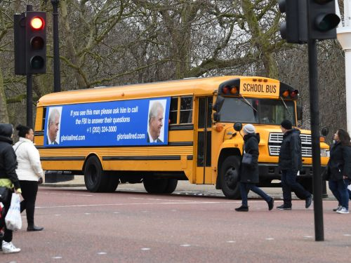 The lawyer for Jeffrey Epstein's accusers sent a school bus to Buckingham Palace with a wanted poster telling Prince Andrew to call the FBI