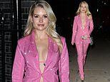 Lottie Moss, 23, dons a sparkling fuchsia suit as she arrives at aBritish Vogue event