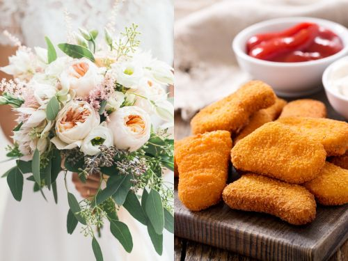 A bride was given a surprise chicken nugget bouquet by her maid of honor at her wedding