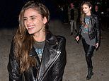 Taylor Hill flaunts her natural beauty as she cuts a casual figure for night at Peppermint Club