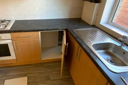 Couple find secret room hidden behind kitchen cupboard while exploring new flat