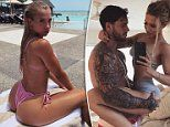 Tammy Hembrow flaunts her natural curves in a pink G-string bikini on a luxury holiday in Fiji