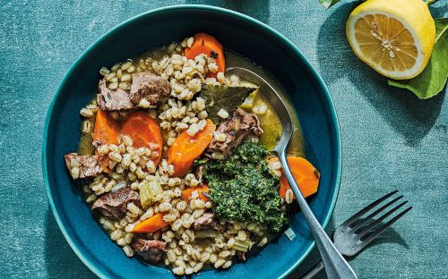 Braised lamb with barley, carrots and herb relish recipe