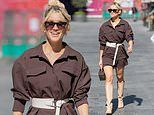 Ashley Roberts puts on leggy display in plum-hued cycling shorts teamed with knee-high boots
