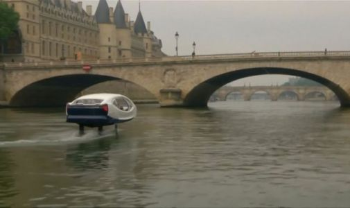 'Flying taxi' stopped by police during tests on the River Seine in Paris