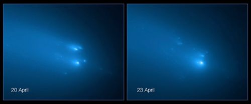 Hubble captures dramatic images of comet flying apart