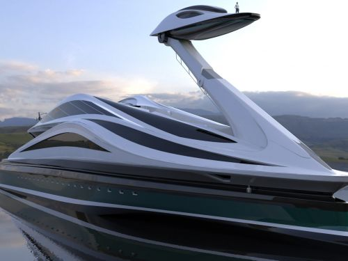 This $500 million concept megayacht was inspired by Japanese anime and designed to look like a swan - take a look at the Avanguardia