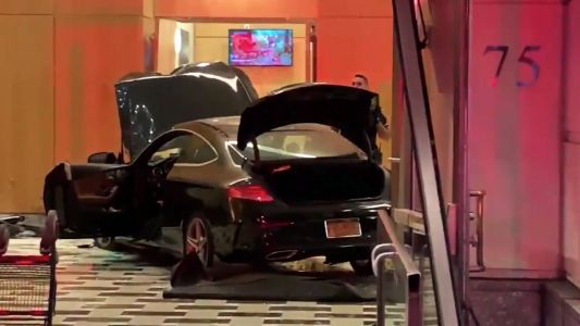 A car plowed through the main hall of Trump Plaza in New Rochelle, New York